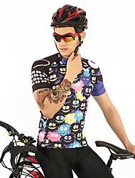お買い得  -FirtySnow 男性用 半袖 サイクリングジャージー - ブラック カートゥン バイク ジャージー, 高通気性 速乾性 ポリエステル / 伸縮性あり