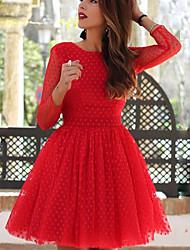 cheap -Women's Daily Slim A Line Dress - Polka Dot Patchwork Spring Red Yellow M L XL