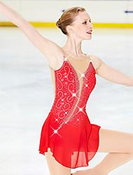 abordables -Robe de Patinage Artistique Femme / Fille Patinage Robes Rouge Ourlet Asymétrique Haute élasticité Concurrence Tenue de Patinage Design Anatomique, Fait à la main Classique / Mode Manches Longues