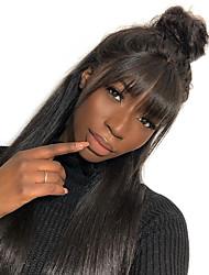 voordelige -Mensen Remy Haar Niet verwerkt Menselijk Haar 360 Frontale Pruik Braziliaans haar BodyGolf Pruik 180% Haardichtheid Natuurlijke haarlijn Afro-Amerikaanse pruik Voor donkere huidskleur Met Bangs Met