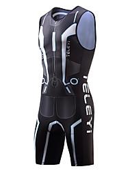 Недорогие -TELEYI Муж. Без рукавов Костюм для триатлона - Черный Велоспорт Дышащий Быстровысыхающий Виды спорта Полиэстер Современный стиль Горные велосипеды троеборье Одежда