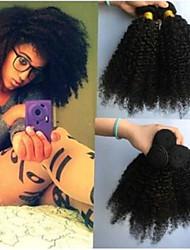 저렴한 -4 묶음 브라질리언 헤어 Kinky Curly 미처리 인모 인간의 머리 직조 번들 헤어 인모 연장 8-28inch 자연 색상 인간의 머리 되죠 오더 프리 패션너블 디자인 선물 인간의 머리카락 확장 여성용 / 처리되지 않은