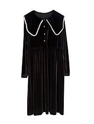 Недорогие -женское повседневное платье длиной до колен в тонкой оболочке с высокой талией воротник из хлопка черный с м л