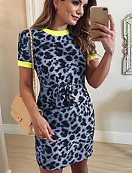 Недорогие -Жен. Классический Оболочка Платье - Однотонный / Леопард Выше колена
