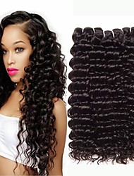 voordelige -3 bundels Braziliaans haar Diep krullend Onbehandeld haar Bundle Hair Extentions van mensenhaar Patroon 10-26 inch(es) Naturel Menselijk haar weeft Geweven Naturel Beste kwaliteit Extensions van echt