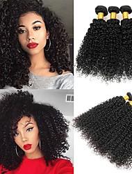 voordelige -4 bundels Braziliaans haar Indiaas haar Gekruld Kinky Curly Onbehandeld haar Helm Menselijk haar weeft Teaparty geschenken 8-28 inch(es) Zwart Natuurlijke Kleur Menselijk haar weeft Zijdeachtig Beste