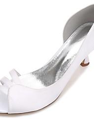 hesapli -Kadın's Ayakkabı Saten İlkbahar yaz Tatlı Düğün Ayakkabıları Kıvrımlı Topuk Burnu Açık Düğün / Parti ve Gece için Kurdele Bağcık Mavi / Açık Kahverengi / Kristal