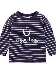 ราคาถูก -เด็ก เด็กผู้ชาย พื้นฐาน ทุกวัน / โรงเรียน ลายแถบ แขนยาว ปกติ ฝ้าย เสื้อยืด สีน้ำเงิน