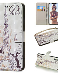 Недорогие -Кейс для Назначение Apple iPhone XR / iPhone XS Max Кошелек / Бумажник для карт / со стендом Чехол Эйфелева башня Твердый Кожа PU для iPhone XS / iPhone XR / iPhone XS Max