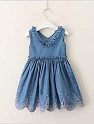 Χαμηλού Κόστους -Νήπιο Κοριτσίστικα Γλυκός / χαριτωμένο στυλ Μονόχρωμο Αμάνικο Φόρεμα Θαλασσί