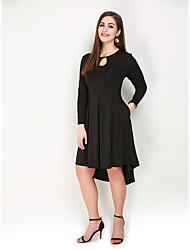 hesapli -Kadın's Büyük Bedenler Parti Tatil Sokak Şıklığı Zarif A Şekilli Kılıf Elbise - Solid, Şalter Dantelli Asimetrik