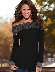 Χαμηλού Κόστους -γυναικείο ασιατικό μέγεθος λεπτό μπλουζάκι - συμπαγές χρώμα από τον ώμο