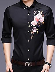 voordelige -Aziatisch slank shirt voor heren - kraag met bloemenprint