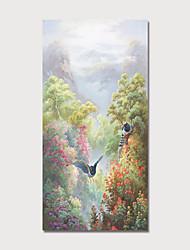 זול -ציור שמן צבוע-Hang מצויר ביד - L ו-scape פרחוני / בוטני מודרני כלול מסגרת פנימית