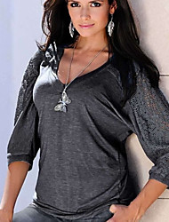 billige -Kvinders asiatiske størrelse slank bluse - solid farvet rund hals