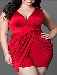 cheap -Women's Plus Size Daily Skinny Sheath Dress - Solid Colored Deep V Summer Blue Black Red XL XXL XXXL / Sexy