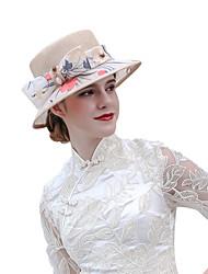 Недорогие -Чудесная миссис Мейзел Кентукки шляпа дерби шляпа Дамы Ретро Жен. Свет верблюд Бант Конструкция САР Тюль Лён / Хлопок костюмы