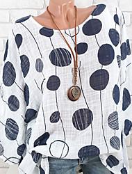 Недорогие -Жен. С принтом Блуза Свободный силуэт Уличный стиль Горошек Летучая мышь Белый