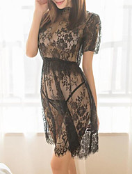 abordables -Femme Costumes Vêtement de nuit Dentelle / Maille, Couleur Pleine