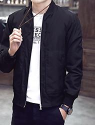 Недорогие -Муж. Повседневные Большие размеры Обычная Куртка, Контрастных цветов Без воротника Длинный рукав Полиэстер Синий / Черный / Винный
