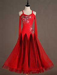 ieftine -Dans de Societate Rochii Pentru femei Performanță Spandex Broderie / Combinată / Cristale / Strasuri Manșon Lung Rochie