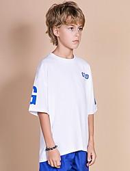 billige -Barn Gutt Aktiv Fargeblokk Kortermet Polyester T-skjorte Blå