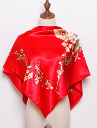 Недорогие -Жен. Квадратный платок - С кисточками Цветочный принт