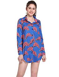 رخيصةأون -فستان نسائي قميص أساسي طباعة فوق الركبة نحيل ورد قبعة القميص