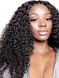 cheap -Remy Human Hair Unprocessed Human Hair Lace Front Wig Asymmetrical Deep Parting style Brazilian Hair Curly Deep Curly Wig 150% 250% Density with Baby Hair Natural Hairline African American Wig For