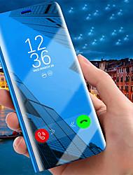 Недорогие -Кейс для Назначение Apple iPhone XS / iPhone XR / iPhone XS Max со стендом / Покрытие / Зеркальная поверхность Чехол Однотонный Твердый Кожа PU
