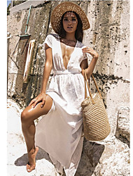 저렴한 -여성용 화이트 나와 높은 전압 커버업 수영복 - 솔리드 원사이즈