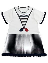 זול -שמלה שרוולים קצרים פסים שחור ולבן בנות תִינוֹק
