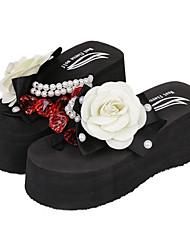ieftine -Pentru femei PU Vară Sandale Toc Drept Negru / Rosu / Roz