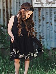 お買い得  -子供 女の子 ベーシック ソリッド ノースリーブ ドレス ブラック