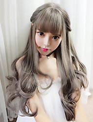 cheap -Synthetic Wig Curly Style With Bangs Capless Wig Dark Gray Grey Synthetic Hair 58 inch Women's Women Dark Gray Wig Long Natural Wigs / Yes