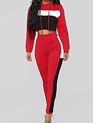 Недорогие -женские тонкие спортивные штаны - цвет блока с высокой талией красный