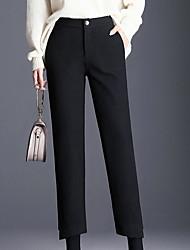זול -מכנסי רגל רחבים רחבים לנשים - בצבע שחור מוצק