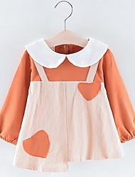 billige -Baby Jente Aktiv Fargeblokk Langermet Polyester Kjole Oransje