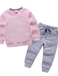 billige -Barn / Baby Gutt Grunnleggende Ensfarget Langermet Polyester Tøysett Gul