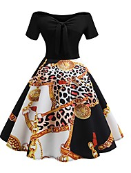 Недорогие -Жен. Для вечеринок С летящей юбкой Платье Бант С открытыми плечами До колена / Сексуальные платья