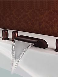Недорогие -Смеситель для душа / Смеситель для ванны - Античный Начищенная бронза Разбросанная Медный клапан Bath Shower Mixer Taps / Латунь / Три ручки пять отверстий