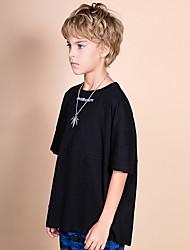 billige -Barn Gutt Aktiv Fargeblokk Kortermet Polyester T-skjorte Hvit