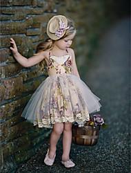 Χαμηλού Κόστους -Παιδιά Κοριτσίστικα Βασικό Πουά Αμάνικο Βαμβάκι / Πολυεστέρας Φόρεμα Πορτοκαλί