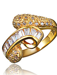 Недорогие -Жен. Белый Цирконий Классический Кольцо Кольца для пары обернуть кольцо Позолота 18К Искусственный бриллиант Массивный Стиль Романтика Мода Элегантный стиль Модные кольца Бижутерия
