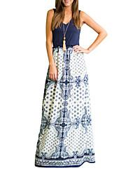 رخيصةأون -فستان نسائي قميص أنيق كشكش طباعة طويل للأرض ضيق ترايبال مناسب للحفلات مناسب للخارج