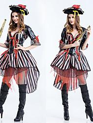 저렴한 -해적 가장 위대한 쇼맨 의상 여성용 영화 코스플레이 블랙 드레스 모자 할로윈 카니발 가장 무도회 탄성 폴리스터