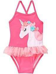 お買い得  -幼児 女の子 ビーチ ソリッド / 幾何学模様 ノースリーブ ポリエステル 水着 ピンク