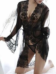 abordables -Quotidien Femme Super sexy Lingerie en Dentelle / Robe de chambre / Costumes Vêtement de nuit Dentelle / Maille, Couleur Pleine / V Profond