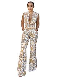 Χαμηλού Κόστους -Γυναικεία Καθημερινά Κομψό στυλ street Λευκό Φόρμες, Γεωμετρικό Στάμπα M L XL Αμάνικο