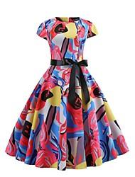Недорогие -Жен. Уличный стиль Обтягивающие С летящей юбкой Платье - Цветочный принт, С принтом Ассиметричное